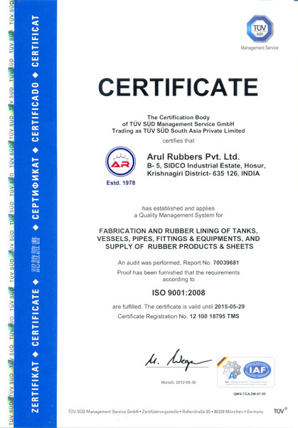 Certificates - Arul Rubbers Private Limited